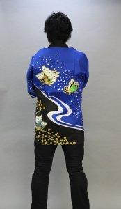 画像1: 安心1枚から衿ネーム入れコミコミ価格「青蝶々」【祭り法被】安心1枚からこの価格 (1)