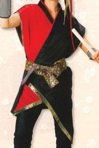 画像1: 和太鼓に人気の袖なしハッピ【赤黒】(よさこいにも最適) (1)