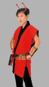 画像1: 袖なし和太鼓衣装法被【陣羽織風】赤 (1)