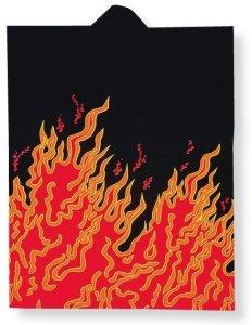 画像1: 袖なし和太鼓衣装法被【黒地に炎】 (1)