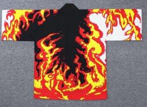 画像1: 衿ネーム込価格!炎ハッピ【10文字まで衿名入れ無料】最強の柄ハッピシリーズ (1)