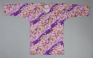 画像1: 鯉口シャツ【和のイベント屋謹製】紫地桜流水:粋ですね!新色紫! (1)
