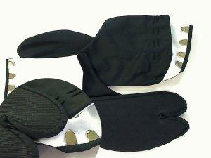 画像1: 黒もめん黒底足袋 4枚コハゼ (1)