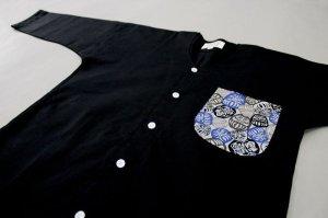 画像1: 【青だるま】再販決定!ユニホームに最適!黒無地鯉口シャツ (1)