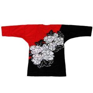 画像1: 鯉口シャツ【歳時記】絵羽式 牡丹 (1)