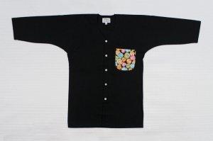 画像1: 【カラーだるま】祭りはもちろんユニフォームに最適!黒無地鯉口シャツ (1)