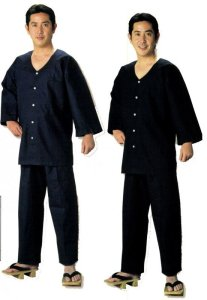 画像1: 無地ダボズボン(紐式) 濃紺・黒・白 (1)