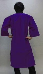 画像1: よこさい無地長い法被(カラーロングハッピ)【紫】 (1)