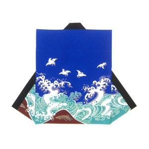 画像1: 和太鼓むけ袖なし法被日本の歳時記【青波に千鳥 売れ筋】 (1)
