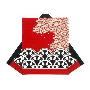 画像1: 和太鼓むけ袖なし法被日本の歳時記【赤に桜に黒御所車】 (1)